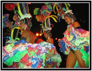 Color dancers in the Tropicana show (25k image)