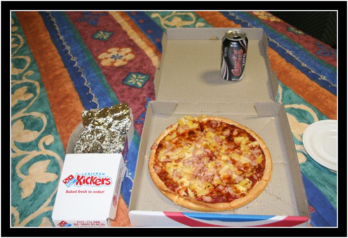 If you can, compare the size of the pizza to the can of Coke Zero