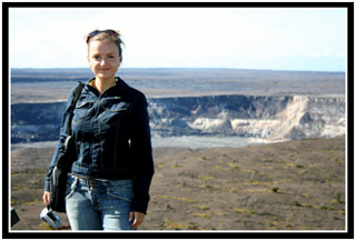 Oksana posing in front of Halemaumau crater.