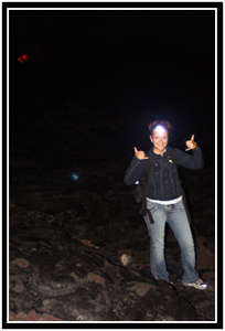 Oksana's night-hiking getup.  Note the lava in the background!