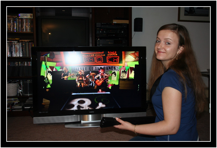 Oksana in front of the new HDTV