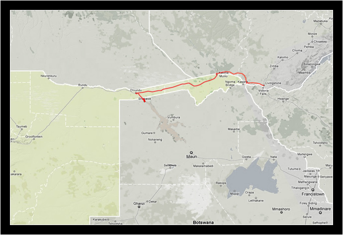 Our GPS track through the Caprivi Strip