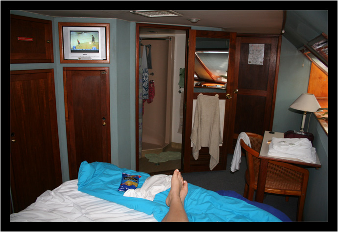Oksana's feet in our Ocean Quest Cabin