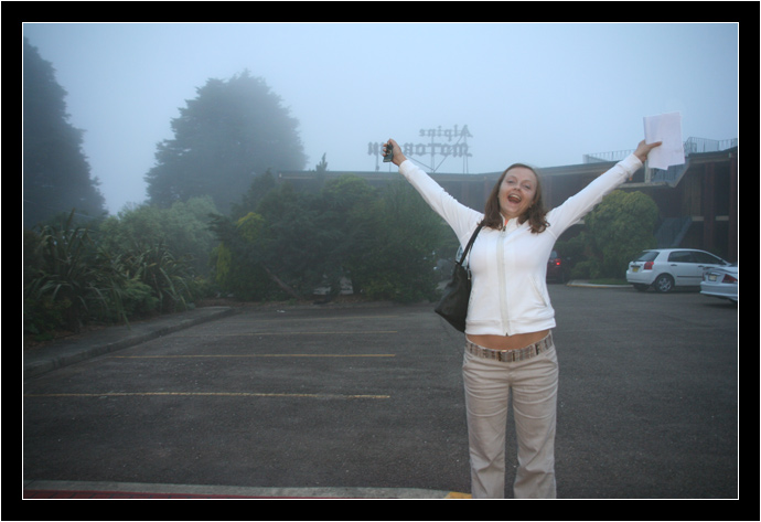 Oksana excited to be in the fog at the Alpine Motor Inn
