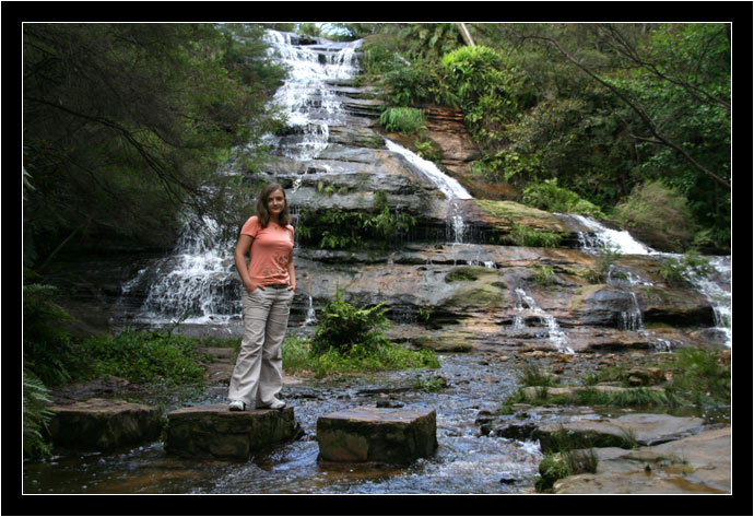 Oksana in front of the Katoomba Cascades