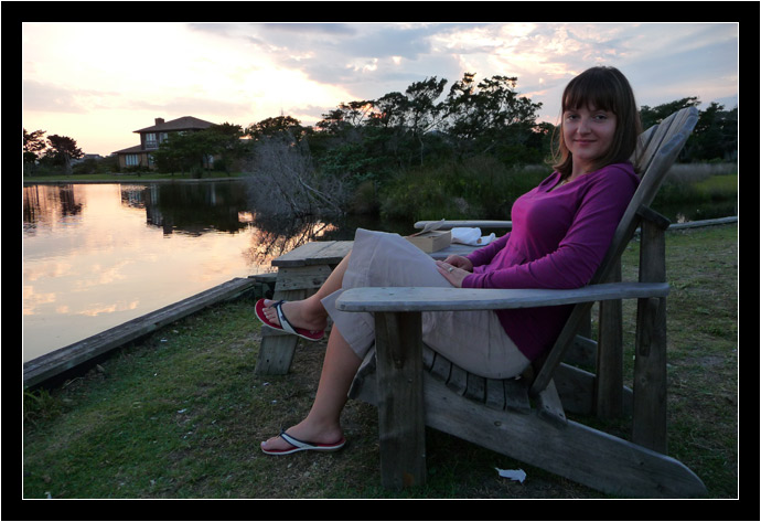 Oksana relaxing in Hatteras