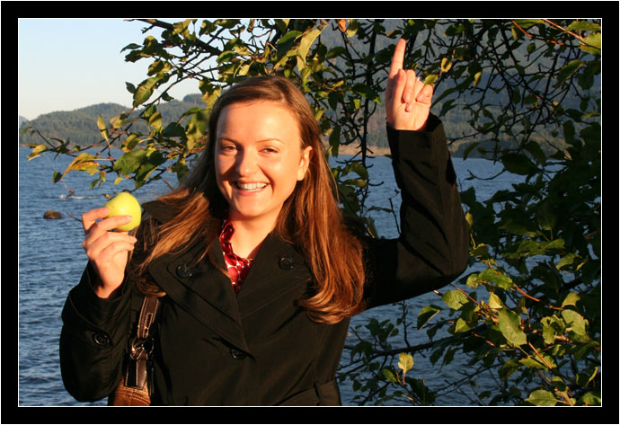 Oksana points out fruit