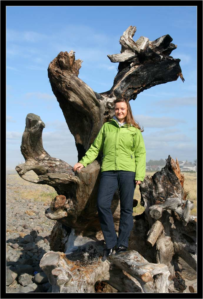 Oksana on a stump