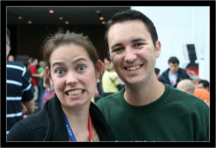 Amelia looks a little surprised to be with Wil Wheaton
